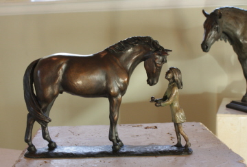 Horse sculpture of Young Girl with her Horse