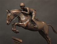 Bronze Hunter Jumper sculpture, horse show trophy