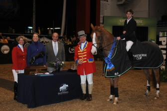 Judgement ISF Perpetual Trophy for the Animal Planet Sporthorse Cup : Beezie Madden, Mary Alice Malone presenting trophy to winning horse.