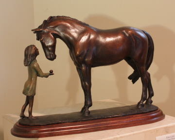 Horse sculpture of young girl with her horse : Mary Sand Studio