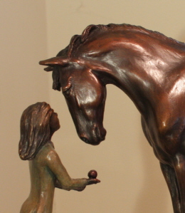 Horse sculpture of horse and young girl, titled First Love