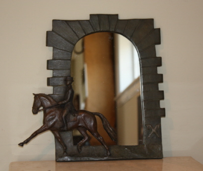 Equestrian gift item: Mirror with frame based on Celle stallion barn entrance and dressage horse & rider in bronze relief