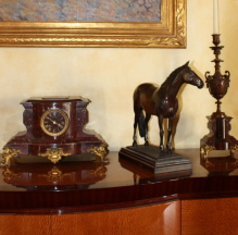 Thoroughbred horse sculpture in clients home